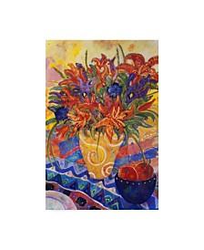 "Lorraine Platt 'Tiger Lilies And Irises' Canvas Art - 30"" x 47"""