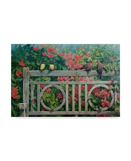 "Trademark Global Michael Jackson 'Park Bench Garden' Canvas Art - 24"" x 16"""