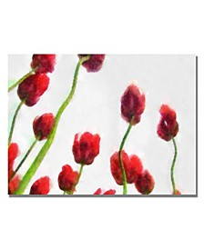 """Michelle Calkins 'Red Tulips from Bottom Up IV' Canvas Art - 47"""" x 30"""""""