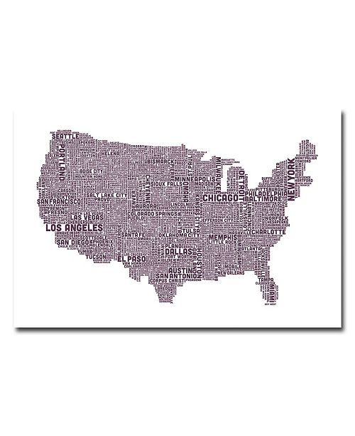 "Trademark Global Michael Tompsett 'US City Map XVII' Canvas Art - 32"" x 22"""