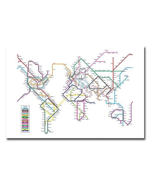 "Trademark Global Michael Tompsett 'World Map - Subway' Canvas Art - 24"" x 16"""