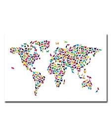 """Michael Tompsett 'World Map - Cats' Canvas Art - 47"""" x 30"""""""