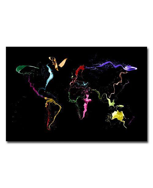 """Trademark Global Michael Tompsett 'World Map -Thrown Paint' Canvas Art - 47"""" x 30"""""""
