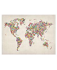 "Michael Tompsett 'Stars World Map 2' Canvas Art - 32"" x 22"""