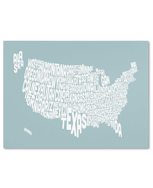 """Trademark Global Michael Tompsett 'DUCK EGG-USA States Text Map' Canvas Art - 32"""" x 22"""""""