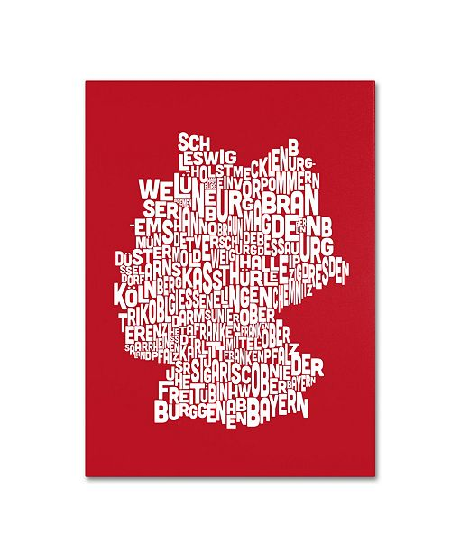 "Trademark Global Michael Tompsett 'RED-Germany Regions Map' Canvas Art - 24"" x 16"""