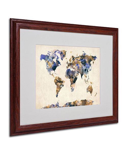 "Trademark Global Michael Tompsett 'Watercolor Map 3' Matted Framed Art - 20"" x 16"""