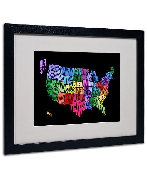 "Trademark Global Michael Tompsett 'USA States Txt Map' Matted Framed Art - 20"" x 16"""