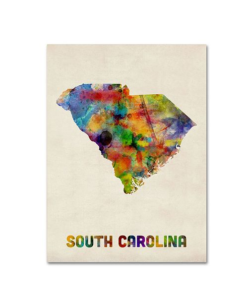 "Trademark Global Michael Tompsett 'South Carolina Map' Canvas Art - 32"" x 24"""