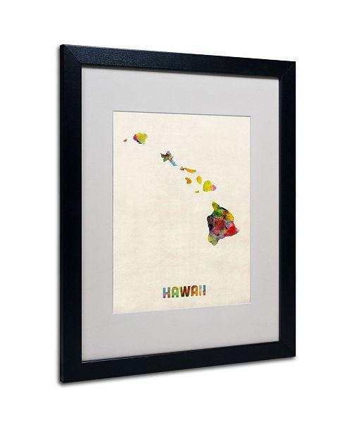 """Trademark Global Michael Tompsett 'Hawaii Map' Matted Framed Art - 20"""" x 16"""""""