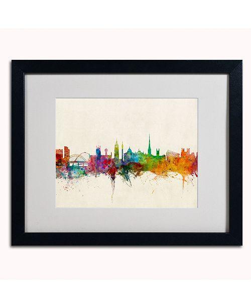 """Trademark Global Michael Tompsett 'Newcastle England Skyline' Matted Framed Art - 20"""" x 16"""""""