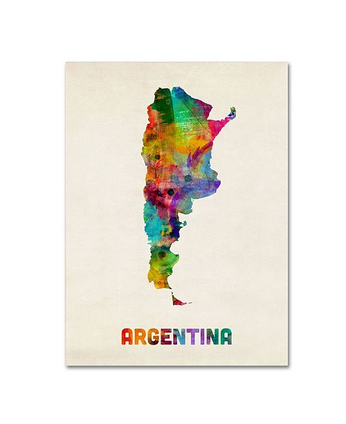 "Trademark Global Michael Tompsett 'Argentina Watercolor Map' Canvas Art - 24"" x 18"""