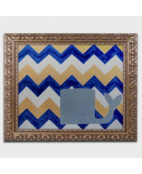 "Trademark Global Nicole Dietz 'Blue and Gold Whale Chevron' Ornate Framed Art - 20"" x 16"""