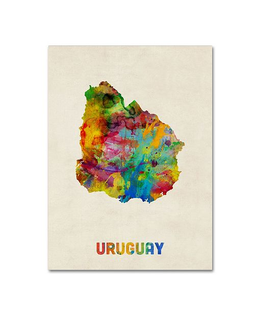 "Trademark Global Michael Tompsett 'Uruguay Watercolor Map' Canvas Art - 24"" x 32"""