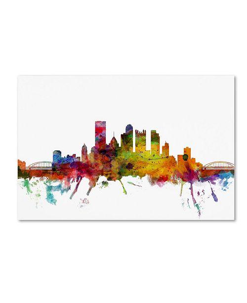"Trademark Global Michael Tompsett 'Pittsburgh Pennsylvania Skyline' Canvas Art - 22"" x 32"""
