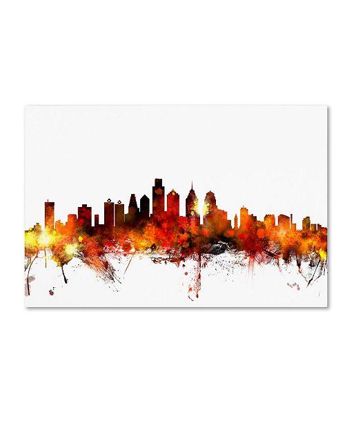 "Trademark Global Michael Tompsett 'Philadelphia Pennsylvania Skyline III' Canvas Art - 30"" x 47"""