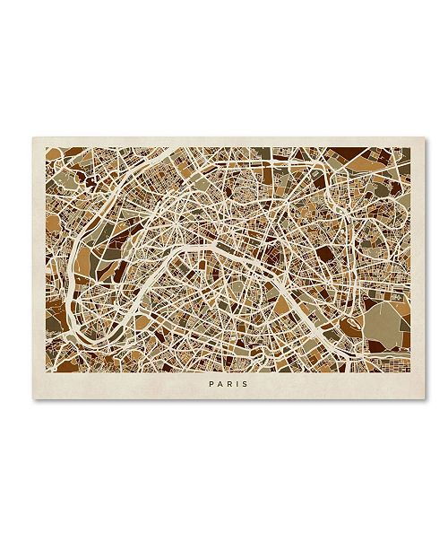"Trademark Global Michael Tompsett 'Paris France Street Map' Canvas Art - 30"" x 47"""