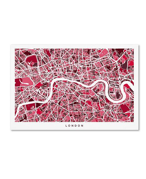 "Trademark Global Michael Tompsett 'London England Street Map 4' Canvas Art - 30"" x 47"""