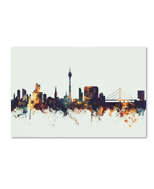 "Trademark Global Michael Tompsett 'Dusseldorf Germany Skyline II' Canvas Art - 12"" x 19"""