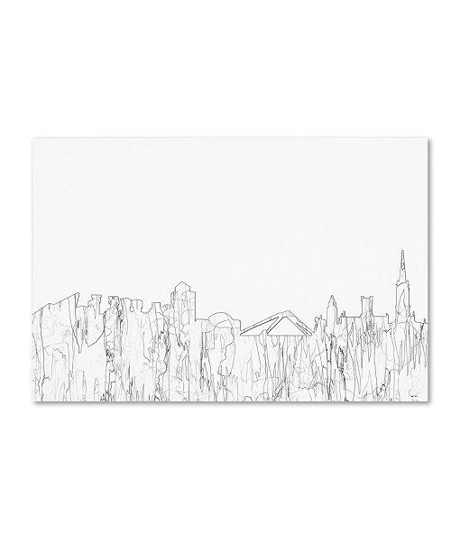 "Trademark Global Marlene Watson 'Coventry England Skyline BW Thin Line' Canvas Art - 12"" x 19"""