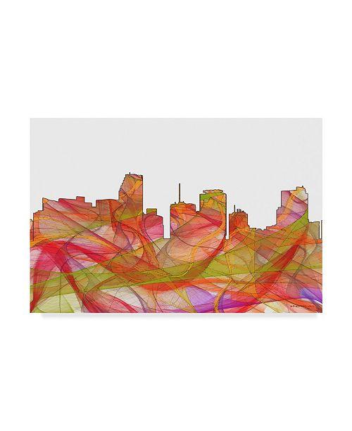 "Trademark Global Marlene Watson 'Miami Florida Skyline Swirl' Canvas Art - 12"" x 19"""