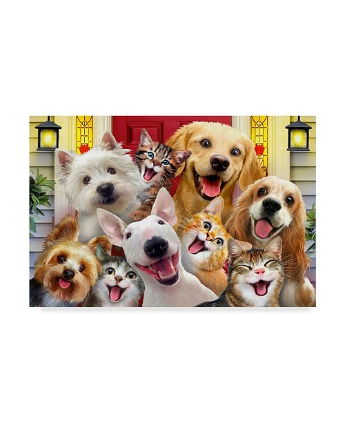 "Trademark Global Howard Robinson 'Front Porch Puppies' Canvas Art - 12"" x 19"""