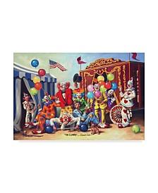 """D. Rusty Rust 'Ten Clowns' Canvas Art - 12"""" x 19"""""""