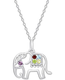 "Multi-Gemstone (1/5 ct. t.w.) Elephant 18"" Pendant Necklace in Sterling Silver"