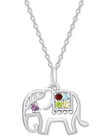 """Multi-Gemstone (1/5 ct. t.w.) Elephant 18"""" Pendant Necklace in Sterling Silver"""