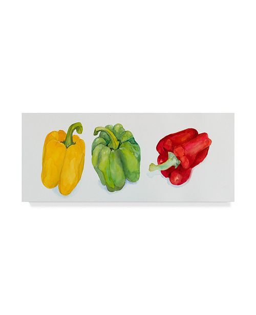 """Trademark Global Joanne Porter 'Yellow And Green Peppers' Canvas Art - 10"""" x 24"""""""