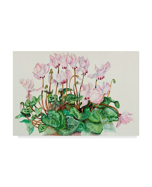 "Trademark Global Joanne Porter 'Pink Cyclamen' Canvas Art - 12"" x 19"""