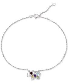 Multi-Gemstone Elephant Ankle Bracelet (3/8 ct. t.w.) in Sterling Silver