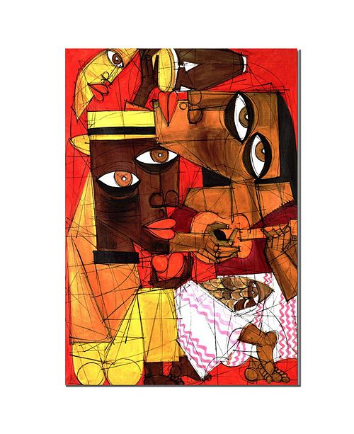 """Trademark Global 'Jammin in Red' Canvas Art - 14"""" x 19"""""""