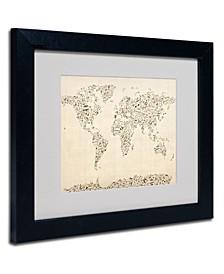 """Michael Tompsett 'World Map - Music Notes' Framed Matted Art - 14"""" x 11"""""""