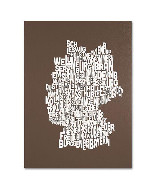 "Trademark Global Michael Tompsett 'COFFEE-Germany Regions Map' Canvas Art - 14"" x 19"""