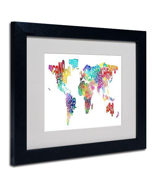 """Trademark Global Michael Tompsett 'World Text Map' Matted Framed Art - 14"""" x 11"""""""