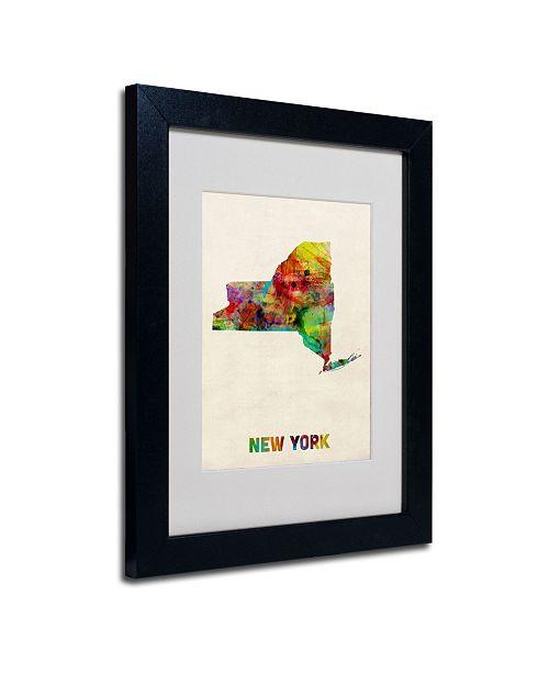 """Trademark Global Michael Tompsett 'New York Map' Matted Framed Art - 14"""" x 11"""""""