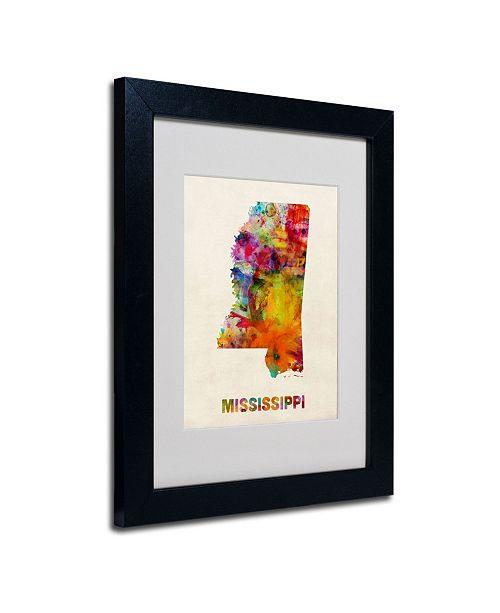 """Trademark Global Michael Tompsett 'Mississippi Map' Matted Framed Art - 14"""" x 11"""""""