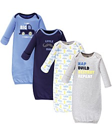 Luvable Friends Cotton Gowns, 4 Pack, 0-6 months