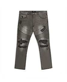 MVP Collections Men's Big and Tall Distressed Grey Wash Biker Jean
