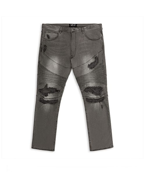 Mvp Collections By Mo Vaughn Productions MVP Collections Men's Big and Tall Distressed Grey Wash Biker Jean
