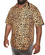 50638487d0f6 MVP Collections Big and Tall Animal Print Spiked Collar Button-Up Shirt