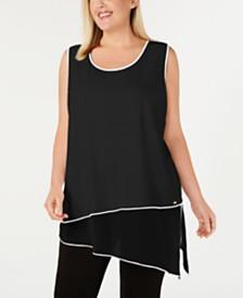 Calvin Klein Plus Size Asymmetrical Chiffon-Hem Top