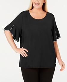 Calvin Klein Plus Size Piping-Trim Flutter-Sleeve Top