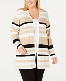 Calvin Klein Plus Size Metallic-Stripe Colorblocked Cardigan Sweater