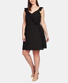 1.STATE Plus Size Ruffled Wrap-Front Dress