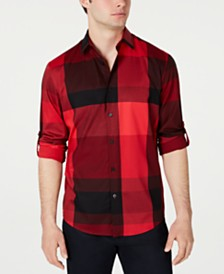 Alfani Men's Large Plaid Utility Shirt, Created for Macy's