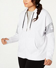 Plus Size Colorblocked Zip Hoodie