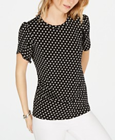 MICHAEL Michael Kors Sliced-Dot Printed Petal-Sleeve T-Shirt, in Regular and Petite