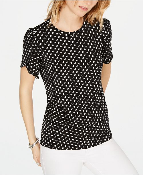 Michael Kors Sliced-Dot Printed Petal-Sleeve T-Shirt, in Regular and Petite